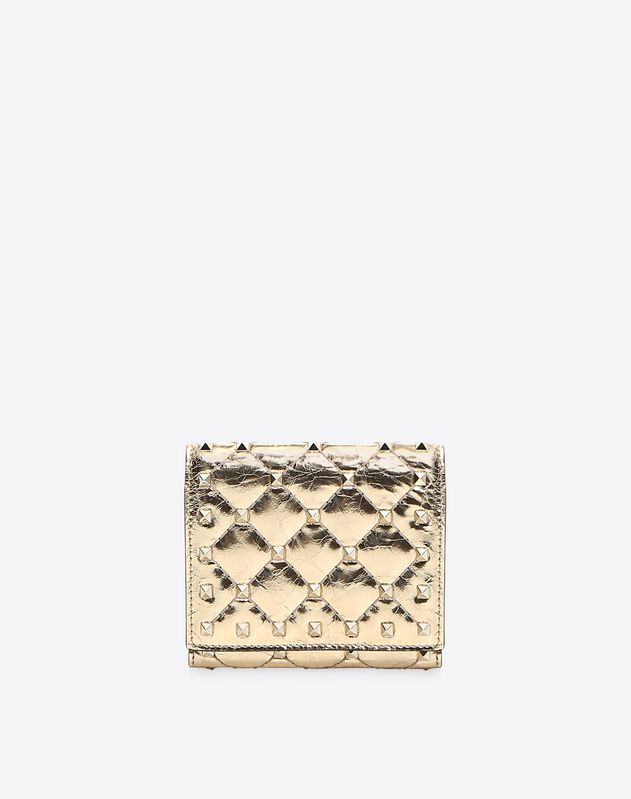 Metallic Spike Compact Flap Wallet