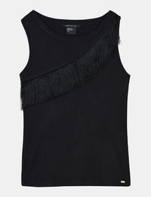 ARMANI EXCHANGE ASYMMETRICAL FRINGE DETAIL TANK S/L Knit Top Woman b