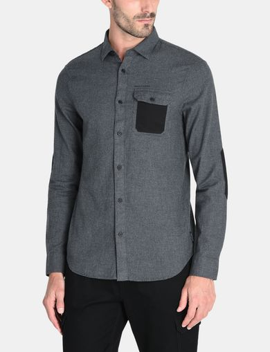 BRUSHED COTTON HEATHERED WORKSHIRT