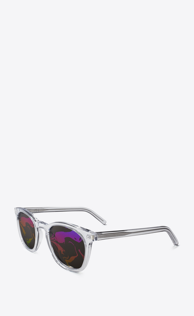 SAINT LAURENT CLASSIC E 28 sunglasses in transparent white b_V4