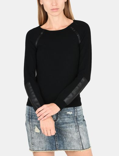 FAUX LEATHER RAGLAN SWEATER