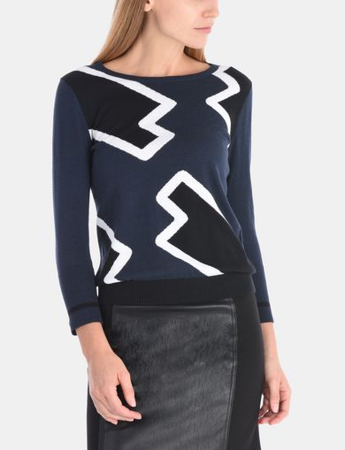 LIGHTNING GRAPHIC BOATNECK SWEATER