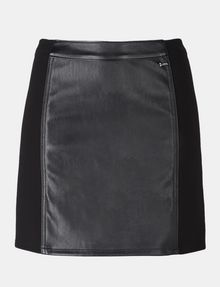 ARMANI EXCHANGE PANELED FAUX LEATHER MINI SKIRT Minirock Damen b