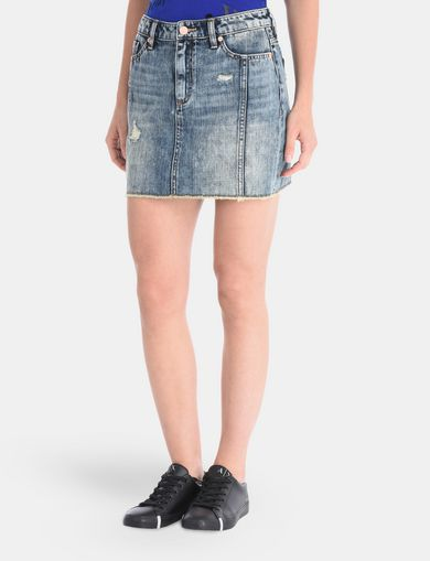 ULTRA-DISTRESSED DENIM MINI SKIRT