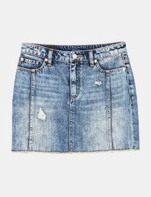 ARMANI EXCHANGE ULTRA-DISTRESSED DENIM MINI SKIRT Denim Skirt Woman b
