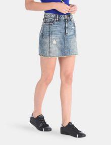 ARMANI EXCHANGE ULTRA-DISTRESSED DENIM MINI SKIRT Denim Skirt Woman d