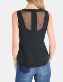 ARMANI EXCHANGE SHEER PANELED SHELL S/L Woven Top Woman r