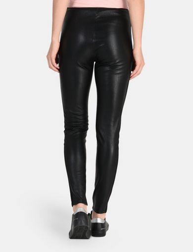 PANELED FAUX LEATHER SKINNY PANTS