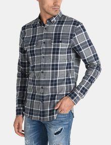 ARMANI EXCHANGE BRUSHED COTTON PLAID WORKSHIRT Long sleeve shirt Man f