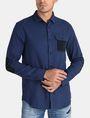 ARMANI EXCHANGE BRUSHED COTTON HEATHERED WORKSHIRT Long sleeve shirt Man f