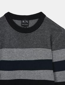 ARMANI EXCHANGE BOYS MIXED STITCH STRIPE CREWNECK T-SHIRT Pullover Man d