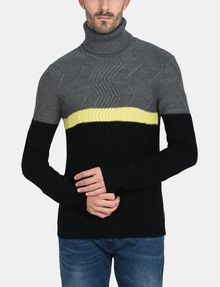 ARMANI EXCHANGE COLORBLOCK ZIGZAG CABLE TURTLENECK Pullover Man f