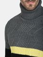 ARMANI EXCHANGE COLORBLOCK ZIGZAG CABLE TURTLENECK Pullover Man e