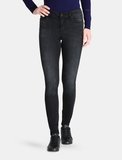 LIFT-UP WASHED BLACK SUPER SKINNY JEANS