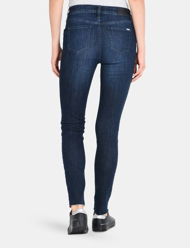 CROPPED WHISKERED INDIGO SKINNY JEANS