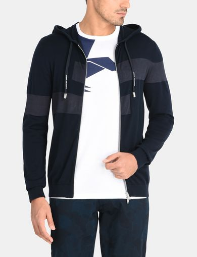 CONTRAST BAND SWEATER JACKET