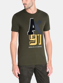 ARMANI EXCHANGE MIXED FONT CREWNECK T-SHIRT Logo T-shirt Man f