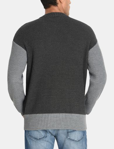 PIECED CABLE CREWNECK SWEATER