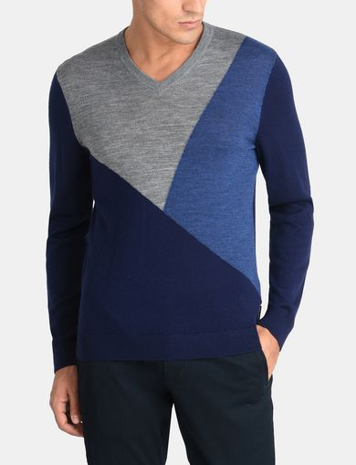 COLORBLOCK MERINO V-NECK SWEATER