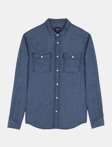 ARMANI EXCHANGE INDIGO CHAMBRAY WORKSHIRT Long sleeve shirt Man b