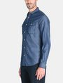 ARMANI EXCHANGE INDIGO CHAMBRAY WORKSHIRT Long sleeve shirt Man d