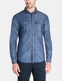 ARMANI EXCHANGE INDIGO CHAMBRAY WORKSHIRT Long sleeve shirt Man f