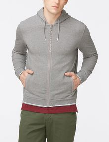 ARMANI EXCHANGE LOGO PLACKET ZIP-UP HOODIE Fleece Top Man f