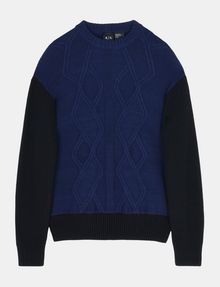 ARMANI EXCHANGE PIECED CABLE CREWNECK SWEATER Pullover Man b