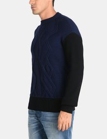 ARMANI EXCHANGE PIECED CABLE CREWNECK SWEATER Pullover Man d