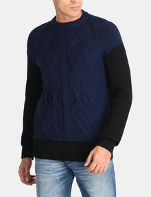 ARMANI EXCHANGE PIECED CABLE CREWNECK SWEATER Pullover Man f