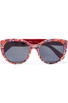 DOLCE & GABBANA Cat-eye printed acetate sunglasses