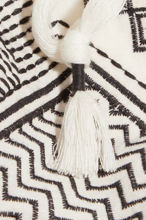 TORY BURCH Fringed embroidered linen and cotton-blend scarf
