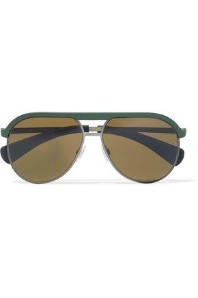 DOLCE & GABBANA Aviator-style gunmetal-tone and coated metal mirrored sunglasses