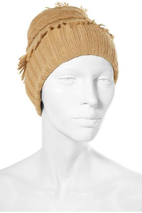 AGNONA Fringed cable-knit wool and cashmere-blend beanie
