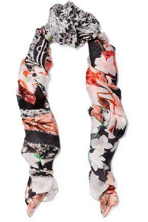 ROBERTO CAVALLI Lace-paneled printed silk-chiffon scarf