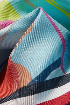 THOM BROWNE Printed silk-twill scarf