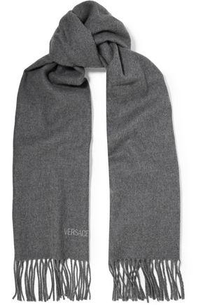 VERSACE Fringed wool-felt scarf