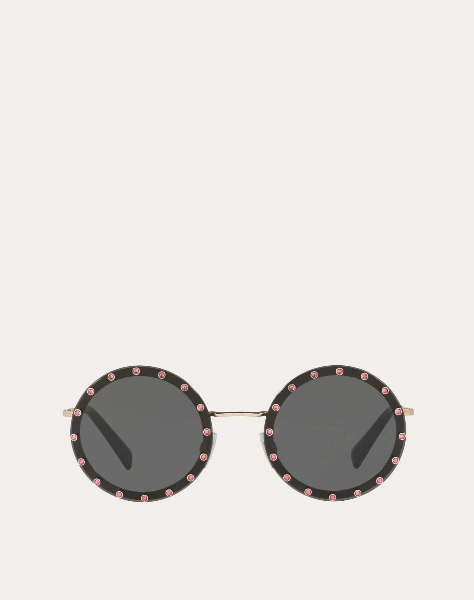 CRYSTAL STUDDED ROUND FRAME METAL SUNGLASSES