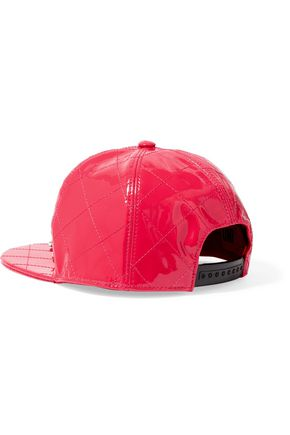 MOSCHINO Embellished quilted patent-leather cap