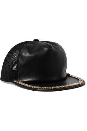 MOSCHINO Mesh-paneled embellished leather cap