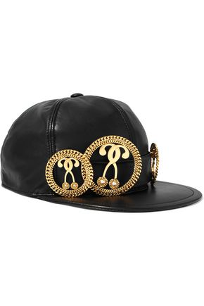 MOSCHINO COUTURE Embellished leather cap