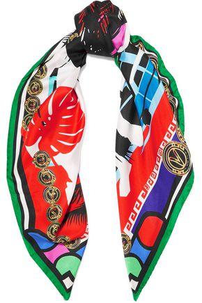 VERSACE Printed silk-satin scarf