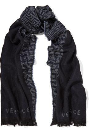 GIANNI VERSACE Fringed intarsia-knit wool scarf