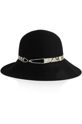 EUGENIA KIM Blake leather-trimmed wool-felt fedora