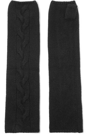 N.PEAL Cable-knit cashmere fingerless gloves