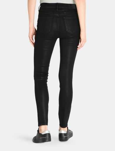 CROPPED COATED SUPER SKINNY JEANS