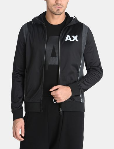 PIECED LOGO ZIP-UP HOODIE