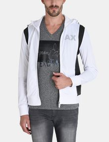 ARMANI EXCHANGE PIECED LOGO ZIP-UP HOODIE Fleece Jacket Man f