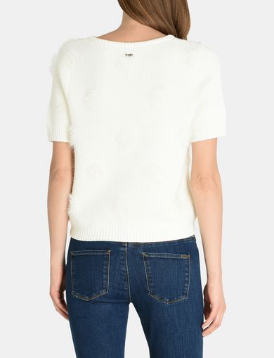 SHORT SLEEVE TEXTURED DOT SWEATER
