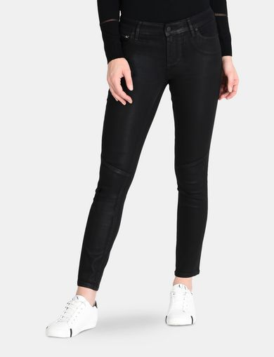 CROPPED COATED SUPER SKINNY MOTO JEANS